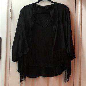 Black Top with Fringe & Flutter Sleeve